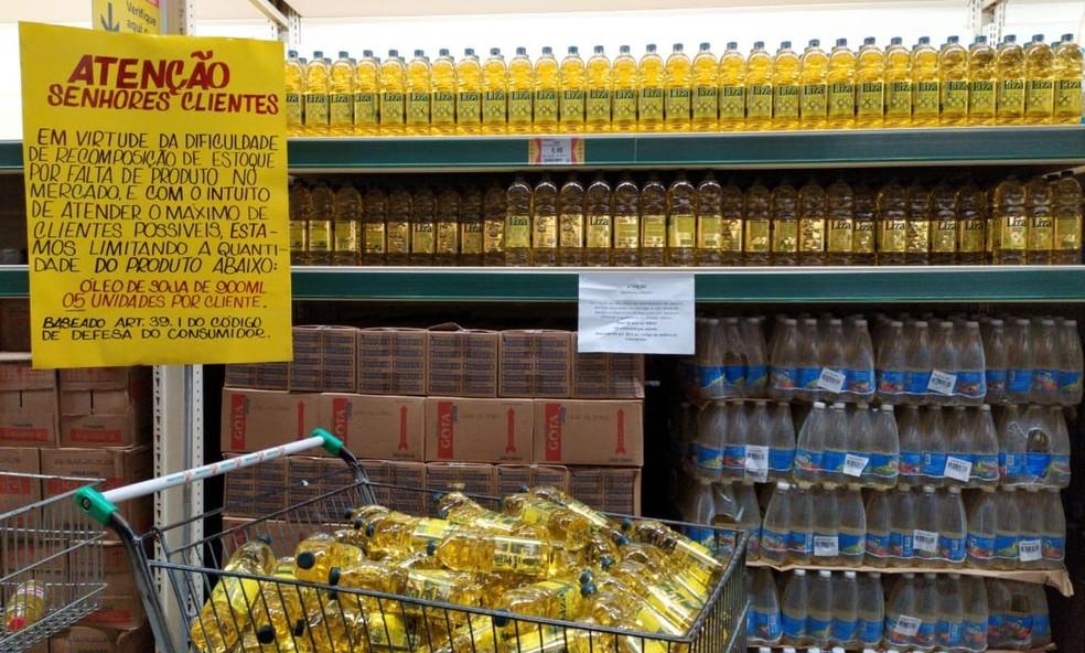 Supermercados de Maceió limitam compra de óleo de soja por consumidor para evitar desabastecimento