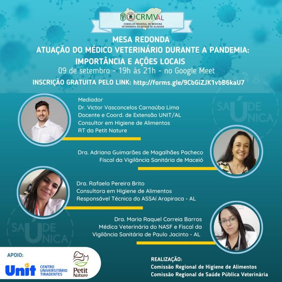 Evento online debate importância do médico veterinário durante a pandemia da Covid-19 em AL