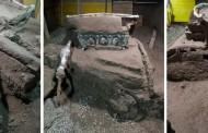 Arqueólogos descobrem carruagem soterrada na região de Pompeia